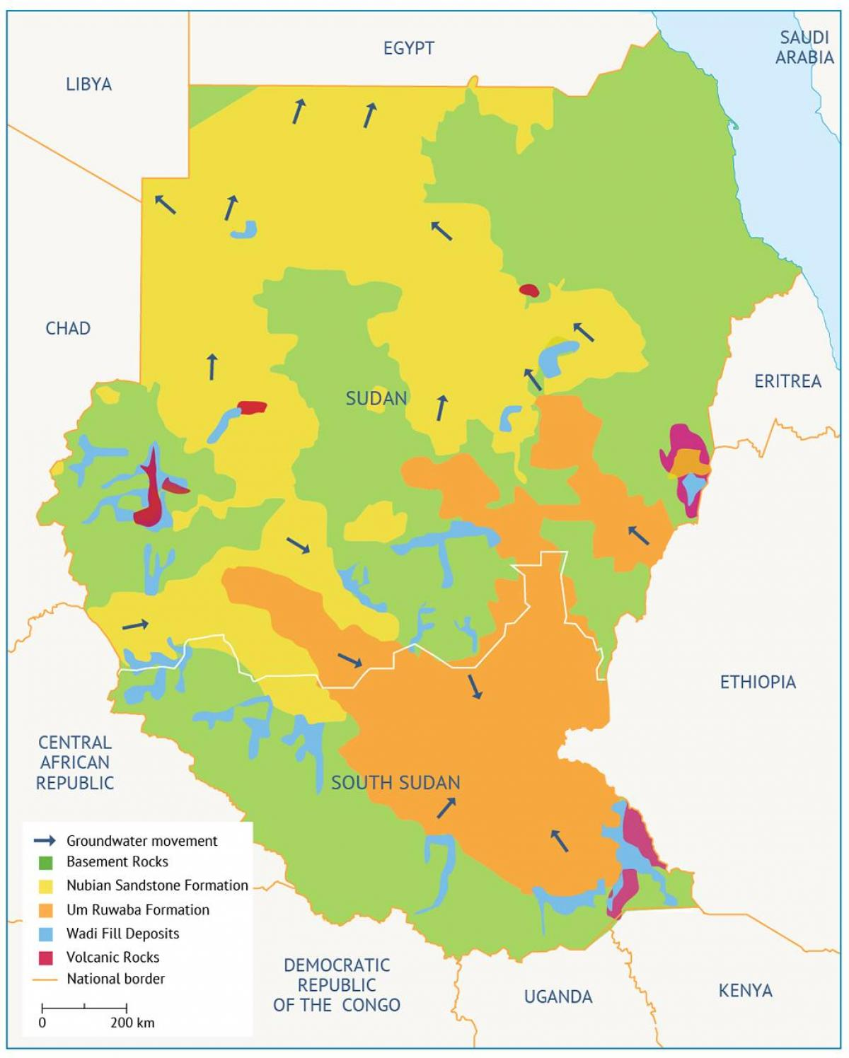 Sudan basin map - Map of Sudan basin (Northern Africa - Africa)