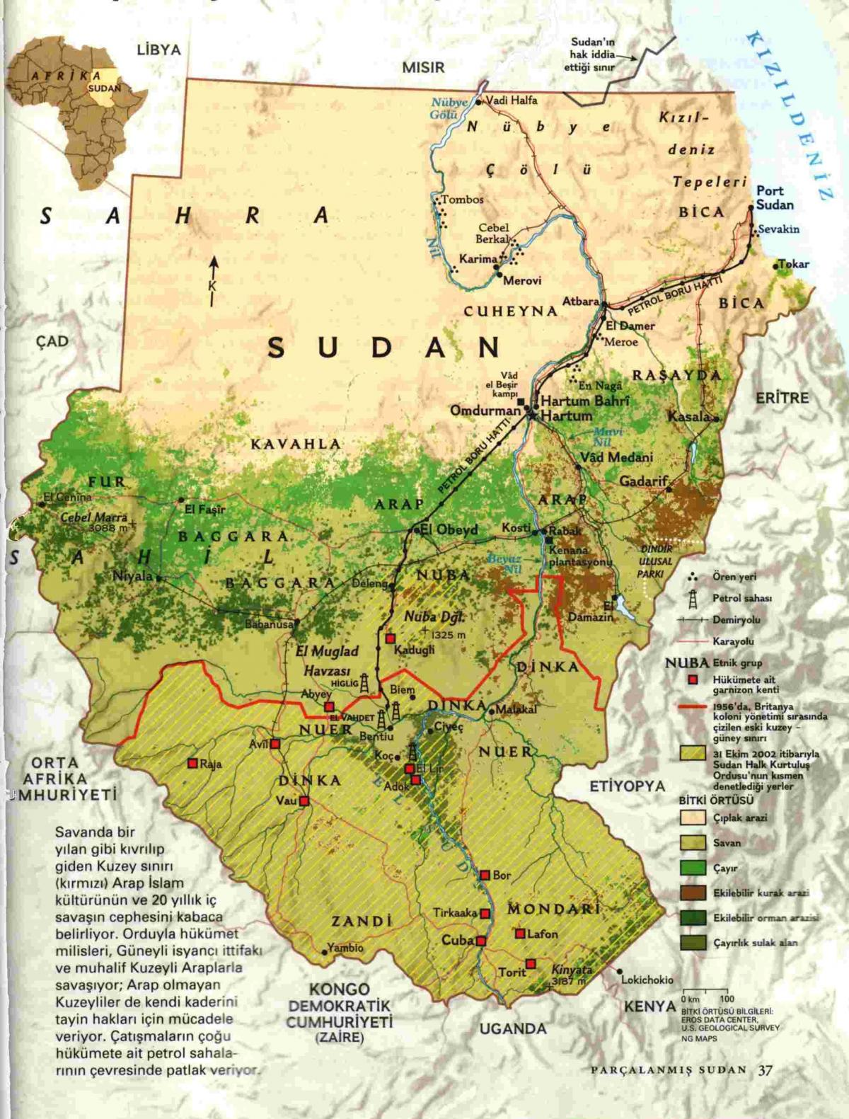 Map of Sudan geography