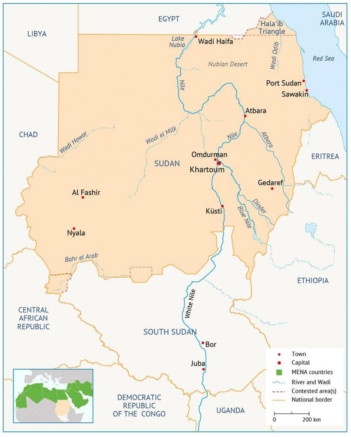 Sudan river map - Map of Sudan river (Northern Africa - Africa)