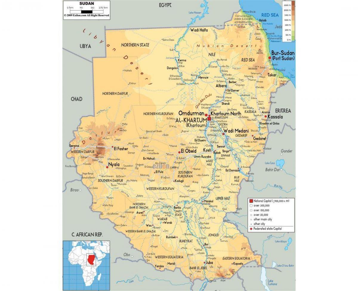 Sudan roads map - Map of Sudan roads (Northern Africa - Africa)